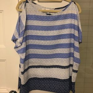 Tops - Blue and white top with shoulder cutouts